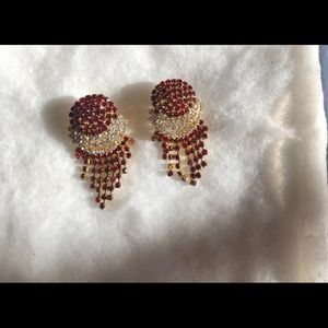 Ruby red and white earrings... gold plated